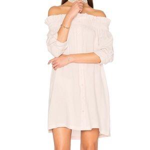 MINKPINK Off the Shoulder Button Down Blush Dress
